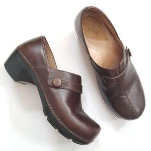Dansko Brown Leather Clogs Slip on Shoes 39
